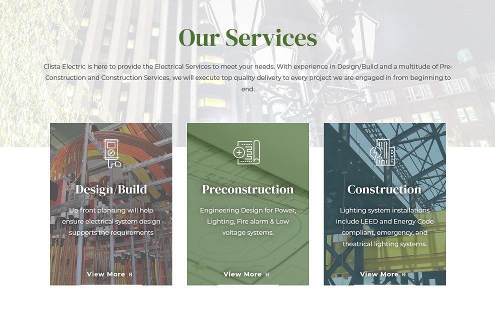 Clista Electric Website - Services Page